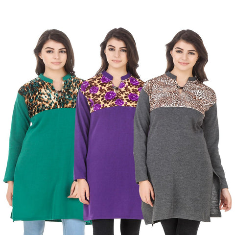 COMBOS-Multi Color Wool Stitched Kurtis - HKURTI-GREN-PURPLE-DGRY