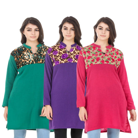 COMBOS-Multi Color Wool Stitched Kurtis - HKURTI-GREN-PURPLE-DPINK
