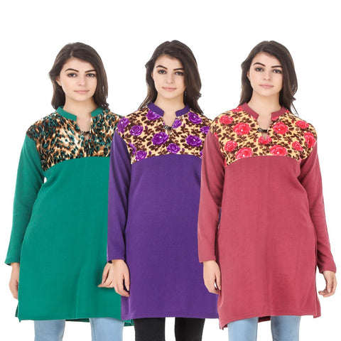 COMBOS-Multi Color Wool Stitched Kurtis - HKURTI-GREN-PURPLE-RED