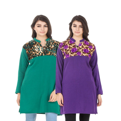 COMBOS-Multi Color Wool Stiched Kurtis - HKURTI-GREN-PURPLE