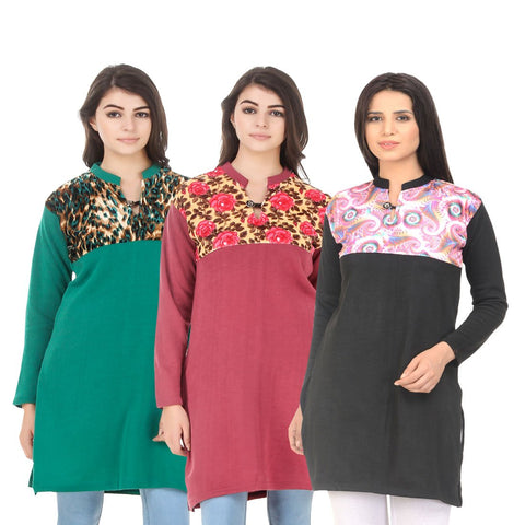 COMBOS-Multi Color Wool Stitched Kurtis - HKURTI-GREN-RED-BLACK