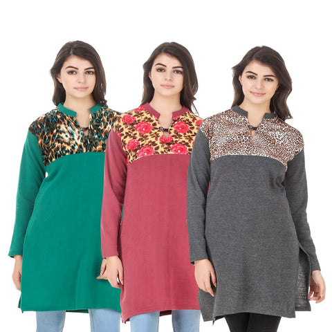 COMBOS-Multi Color Wool Stitched Kurtis - HKURTI-GREN-RED-DGRY