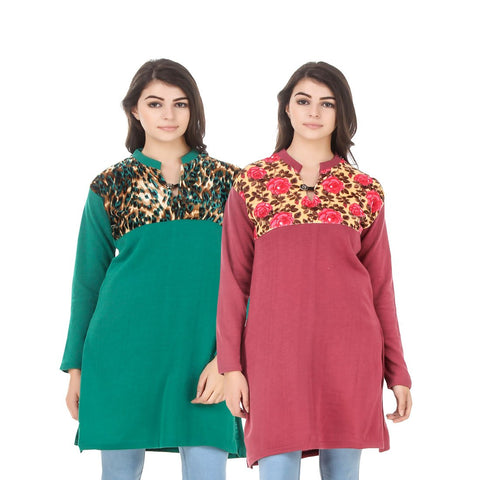 COMBOS-Multi Color Wool Stiched Kurtis - HKURTI-GREN-RED