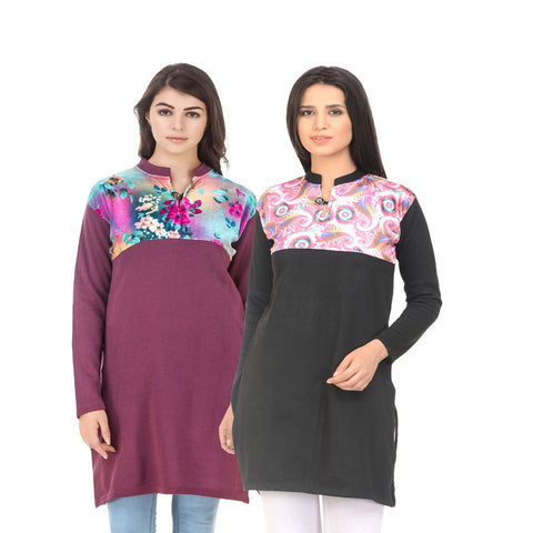 COMBOS-Multi Color Wool Stiched Kurtis - HKURTI-MARON-BLACK