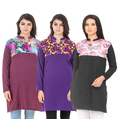 COMBOS-Multi Color Wool Stitched Kurtis - HKURTI-MARON-PURPLE-BLACK