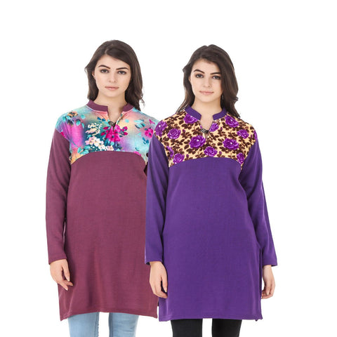 COMBOS-Multi Color Wool Stiched Kurtis - HKURTI-MARON-PURPLE