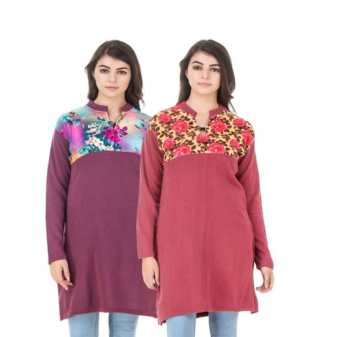 COMBOS-Multi Color Wool Stiched Kurtis - HKURTI-MARON-RED
