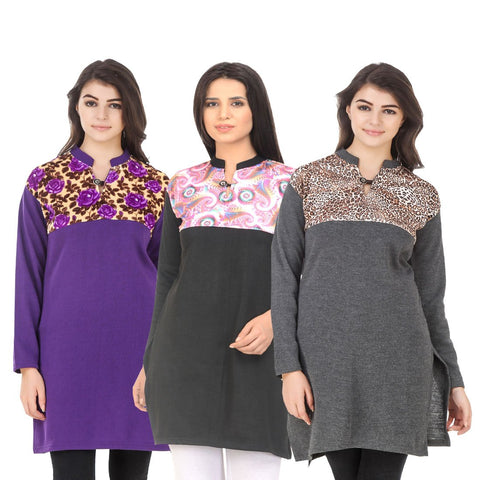 COMBOS-Multi Color Wool Stitched Kurtis - HKURTI-PURPLE-BLACK-DGREY