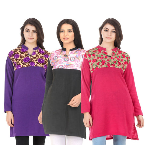 COMBOS-Multi Color Wool Stitched Kurtis - HKURTI-PURPLE-BLACK-DPINK
