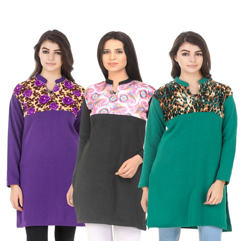 COMBOS-Multi Color Wool Stitched Kurtis - HKURTI-PURPLE-BLACK-GREN