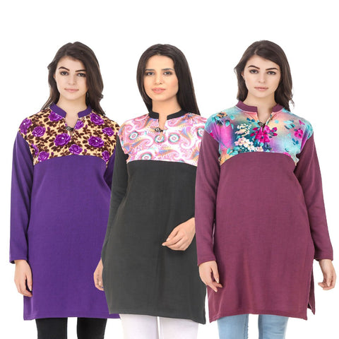 COMBOS-Multi Color Wool Stitched Kurtis - HKURTI-PURPLE-BLACK-MARON