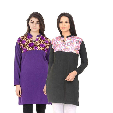 COMBOS-Multi Color Wool Stiched Kurtis - HKURTI-PURPLE-BLACK