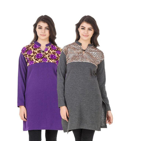 COMBOS-Multi Color Wool Stiched Kurtis - HKURTI-PURPLE-DGRY