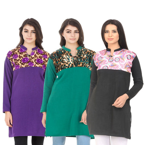 COMBOS-Multi Color Wool Stitched Kurtis - HKURTI-PURPLE-GREN-BLACK