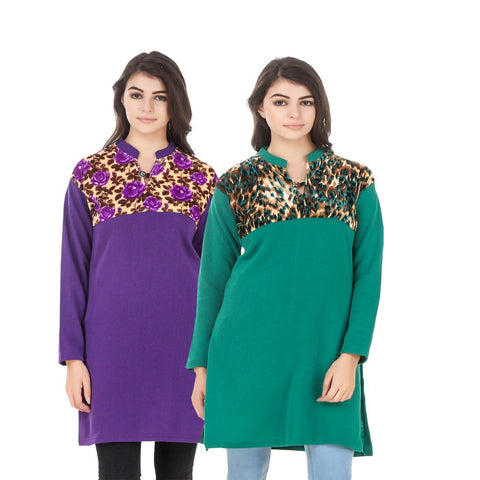 COMBOS-Multi Color Wool Stiched Kurtis - HKURTI-PURPLE-GREN