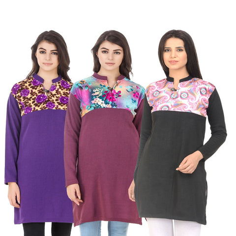 COMBOS-Multi Color Wool Stitched Kurtis - HKURTI-PURPLE-MARON-BLACK