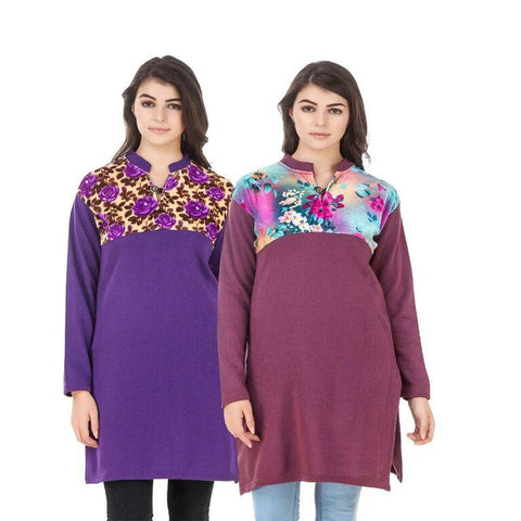COMBOS-Multi Color Wool Stiched Kurtis - HKURTI-PURPLE-MAROON