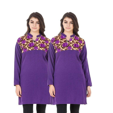 COMBOS-Multi Color Wool Stiched Kurtis - HKURTI-PURPLE-PURPLE