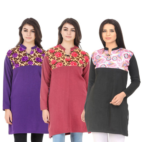 COMBOS-Multi Color Wool Stitched Kurtis - HKURTI-PURPLE-RED-BLACK