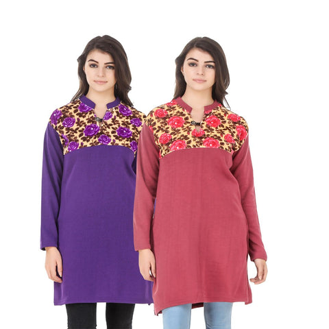 COMBOS-Multi Color Wool Stiched Kurtis - HKURTI-PURPLE-RED