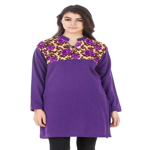 Purple Color Wool Stitched Kurti - HKURTI-PURPLE