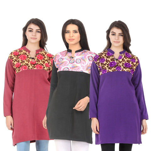 COMBOS-Multi Color Wool Stitched Kurtis - HKURTI-RED-BLACK-PURPLE