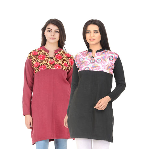 COMBOS-Multi Color Wool Stiched Kurtis - HKURTI-RED-BLACK
