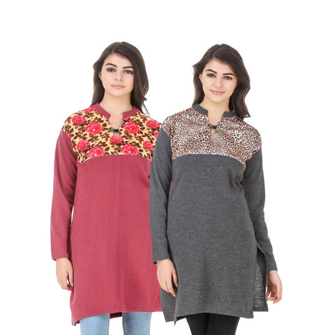COMBOS-Multi Color Wool Stiched Kurtis - HKURTI-RED-DGRY