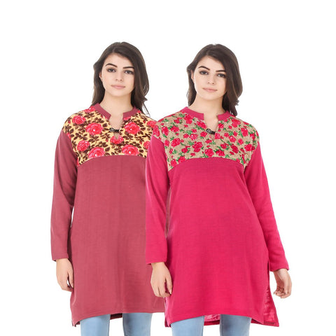 COMBOS-Multi Color Wool Stiched Kurtis - HKURTI-RED-DPINK