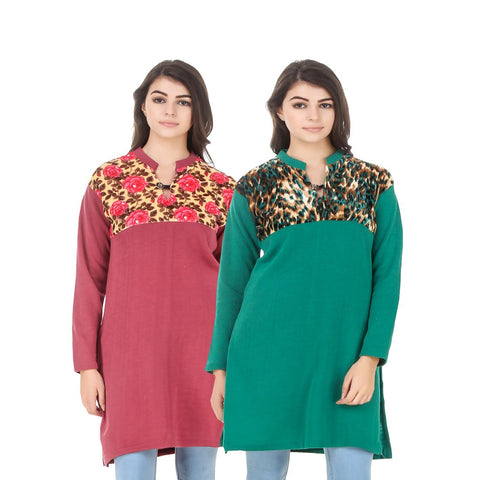 COMBOS-Multi Color Wool Stiched Kurtis - HKURTI-RED-GREN