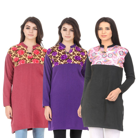 COMBOS-Multi Color Wool Stitched Kurtis - HKURTI-RED-PURPLE-BLACK