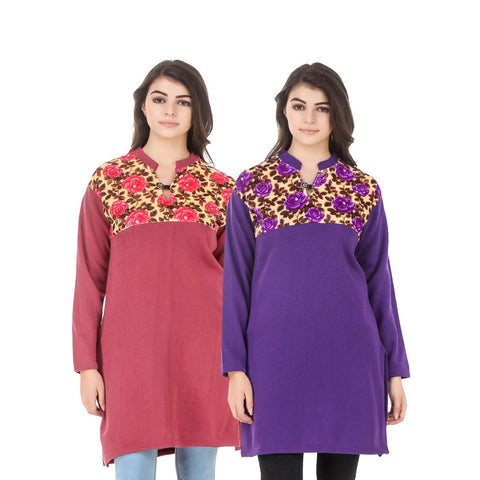 COMBOS-Multi Color Wool Stiched Kurtis - HKURTI-RED-PURPLE