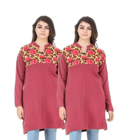 COMBOS-Multi Color Wool Stiched Kurtis - HKURTI-RED-RED