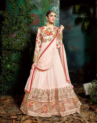 Light Pink Color Bemberg Georgette UnStitched Anarkali Gown - HL-11221A