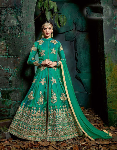Green Color Sultani Silk UnStitched Anarkali Gown - HL-11222A