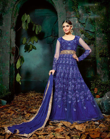Blue Color ButterFly Net UnStitched Anarkali Gown - HL-11223A