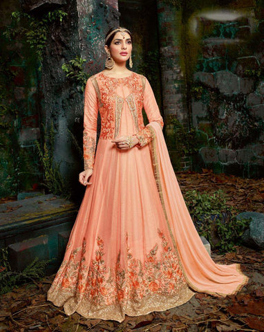 Orange Color Bemberg Georgette UnStitched Anarkali Gown - HL-11224A