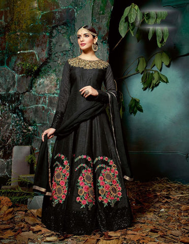 Black Color Pure Silk UnStitched Anarkali Gown - HL-11225A