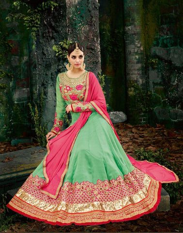 Green Color Chiffon UnStitched Anarkali Gown - HL-11226A