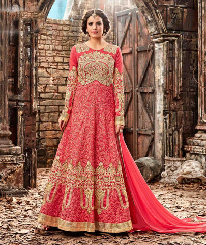 Pink Color Silk UnStitched Anarkali Gown - HL-3774B
