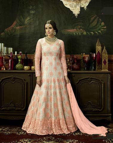 Off White Color Butterfly Net UnStitched Anarkali Gown - HL-3883A