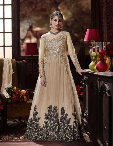Light Peach Color Butterfly Net UnStitched Anarkali Gown - HL-4221A
