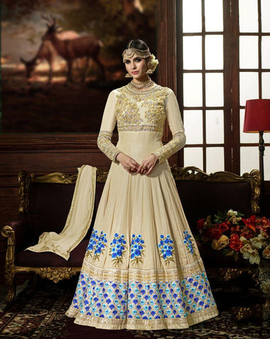 Cream Color Slime Crepe UnStitched Anarkali Gown - HL-4224A