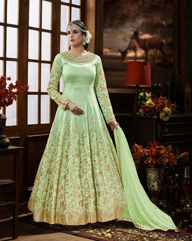 Green Color Pure Silk UnStitched Anarkali Gown - HL-4225A
