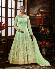 Buy Green Color Pure Silk UnStitched Anarkali Gown