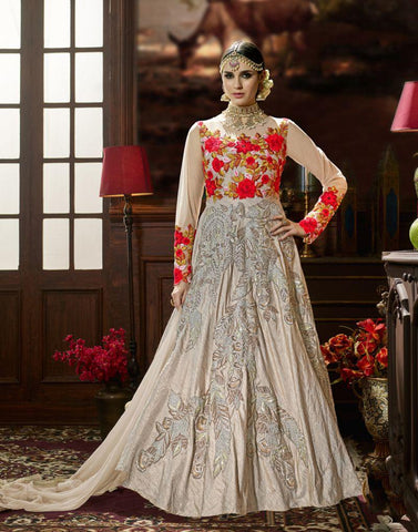 Grey Color Lenning Silk UnStitched Anarkali Gown - HL-4226A