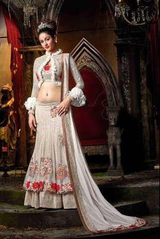 Off White Color Georgette Semi Stitched Lehenga - HL-4553