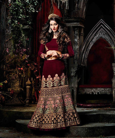 Maroon Color Velvet UnStitched Lehenga - HL-4554A