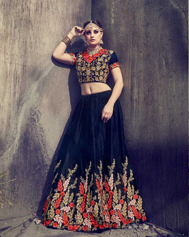 Navy Blue Color Velvet Semi Stitched Lehenga - HL-4772