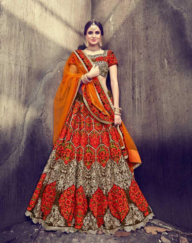 Coffee Color Velvet Semi Stitched Lehenga - HL-4774
